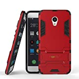 Heartly Meizu M3s Back Cover Graphic Kickstand Hard Dual Rugged Armor Hybrid Bumper Case - Hot Red