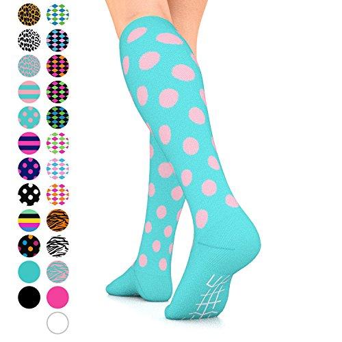 Go2Socks GO2 Compression Socks for Women Men Nurses Runners 15-20 mmHg (Medium) - Medical Stocking Maternity Travel - Best Performance Recovery Circulation Stamina (TurquoisePinkPolka,M)