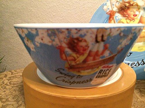 (Kellogg's Vintage Girl on Blue Rice Krispies Ceramic Cereal Bowl )