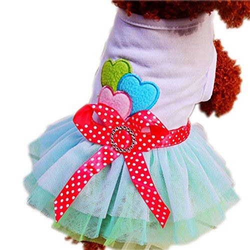 Image of Cute Pet Dog Dresses Pet Clothes Bowknot Lace Dress Princess Dress Teddy Dog Clothes (M(Body 11.81