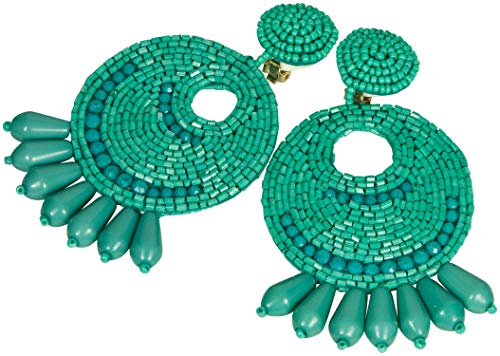 Kenneth Jay Lane Jewelry Turquoise Blue Large Gypsy Disc Beaded Clip Earring - Lane Kjl Coral