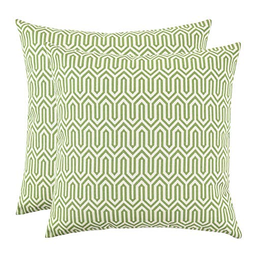 (Set of 2, Artcest Decorative Cotton Blend Jacquard Bed Throw Pillow Case, Sofa Durable Geometric Pattern, Comfortable Couch Cushion Cover (Moss Green, 18 X 18)