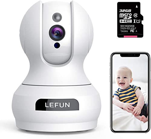 WiFi Camera – Lefun Home Indoor Security Camera with 32G Micro SD Card Surveillance Pet Dog Camera, Pan Tilt Zoom 2-Way Audio Remote Viewing Baby Monitor Motion Detect Night Vision Webcam