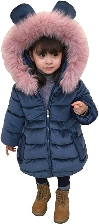 DorkasDE M/ädchen Winterjacke Kinder Wintermantel Steppjacke Baumwollgefuetterte Mantel mit Fellkapuze
