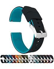 Barton Elite Silicone Watch Bands - Quick Release - Choose Color - 18mm, 19mm, 20mm, 21mm, 22mm, 23mm & 24mm Watch Straps - Black Buckle