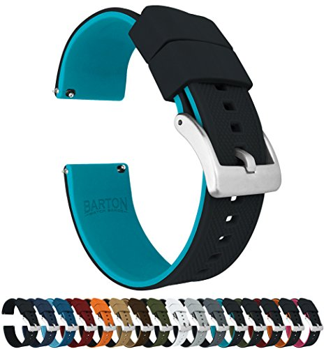 Barton Elite Silicone Watch Bands - Quick Release - Choose Strap Color & Width - Black/Aqua Blue 22mm