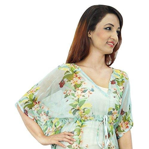 Gasa BlendBeach Cover Up Kaftan Boho hippy New Indian más el tamaño de las mujeres del vestido de la túnica Azul claro