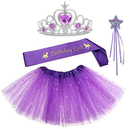 Tiara Tutu - Birthday Gifts for Girls Layered Sequins Tutu Skirt Fairy Wand Unicorn Birthday Sash Princess Tiara Dress up 4 PCs Party Favors Girl Birthday Costume Purple