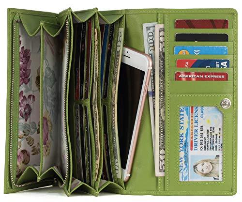 Mou Meraki Women RFID Blocking Real Leather Bifold Wallet-Clutch For Women-Shield Against Identity Theft (GREEN)