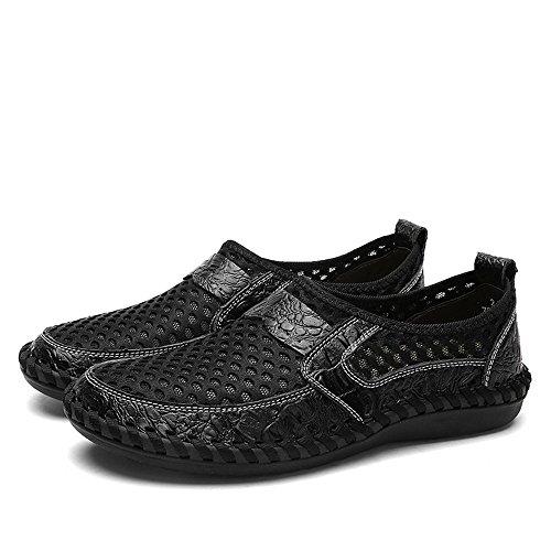 Negro Zapatos de Hombre Color shoes EU Color para Loafer Mesh 45 Plano Meimei de tacón en sólido tamaño los Slip PaqnXHd6