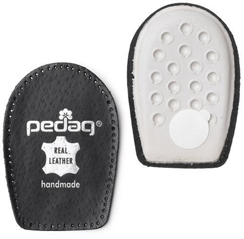 (Pedag Perfect Shock Absorbing Heel Pads Made with Vegetable Tanned Leather and Latex Rubber, Black, Medium (8L to 7M))