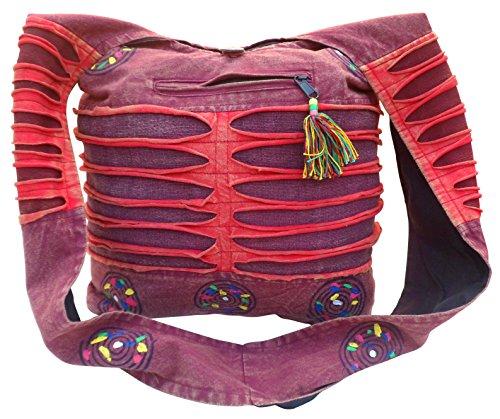 SLASH PAINTED Red amp; COTTON TRADE EFFECT SHOULDER TRAVEL BOHO BAG BEACH HIPPY Mix FAIR qwEHfw