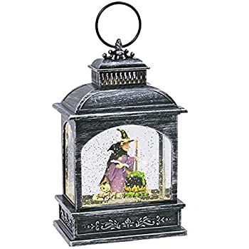 One Holiday Way Vintage Animated Lantern Water Globes with Halloween Figures - Tabletop Halloween Decoration (Witch)