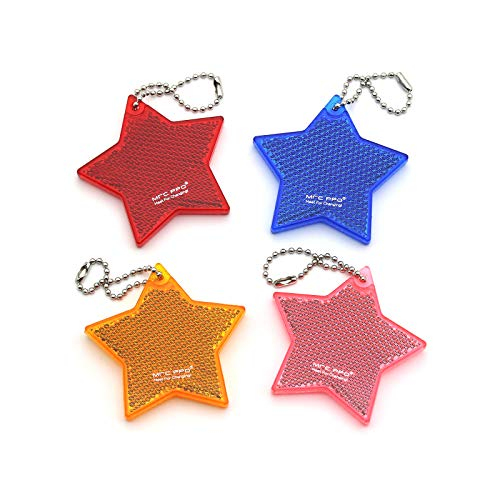 MFC PRO 4Pcs Super Bright Safety Reflector - Star Shapes - Stylish Reflective Gear for Jackets, Bags, Purses, Backpacks, Strollers and Wheelchairs,Christmas Halloween Party Hanging Decoration (Star)