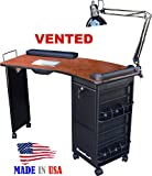 M601 Vented Manicure Nail Table Lockable Cherry Laminated Top Made in USA by Dina Meri