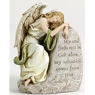 Memorial Angel My Soul Finds Rest in God Alone My Salvation Comes in Him: Home & Kitchen