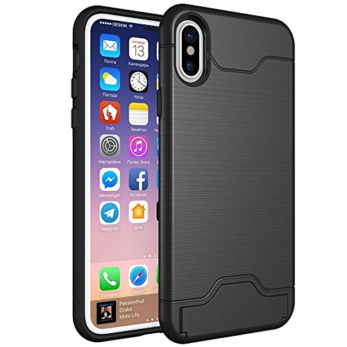 iPhone X Case, iPhone Ten Case, SUMOON [Card Slot Holder] Dual Layer Advanced Shock Absorption Protective with Card Holder and Kickstand Wallet Case Heavy Duty Bumper for iPhone X/10 2017 (Black)