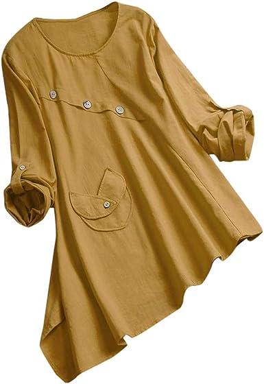 Fossen MuRope Camisa Mujer Talla Grande, Blusa de Manga Larga ...