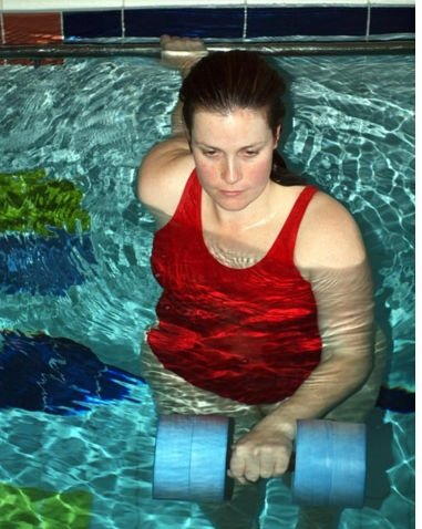 Water Aerobics Dumbbell Aquatic Heavy Buoy Barbell Aqua F...