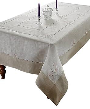 Violet Linen Espirit Embroidered Floral Design Oblong//Rectangle Tablecloth 70 x 120 Pink ESPRIT PN-6
