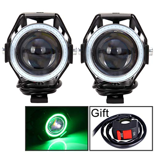 - Motorcycle Headlight Cree U7 LED Fog Lights Spotlight Daytime Running Lights with Green Angel Eyes Halo Ring and ON/OFF Toggle Switch 2-sets
