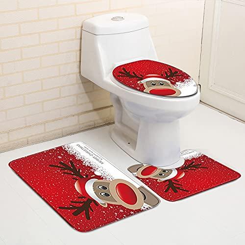 Fottone 3 PCS Christmas Bathroom Decorations Set Toilet Seat Cover Rug Sets Santa Claus Elk Snowman Bathroom Decor (A)