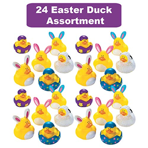 48 Count Easter Rubber Ducks Bulk Variety Pack - Kids Easter Egg Hunt Prizes - Easter Basket Fillers - Spring Fling Ducky Party Favors Giveaways - Assorted Bunny Rubber Duckies by The Old Blue Door (Image #1)