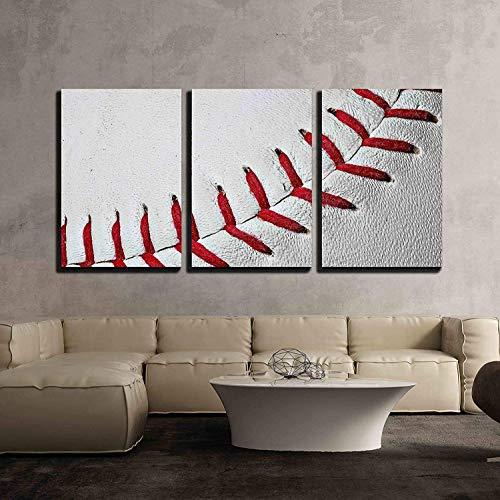 Baseball Seams Extreme Close Up of Red Baseball Seams x3 Panels