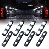 Xprite Led Rock Light Bed Truck, 24 LEDs Cargo Truck Pickup Bed, Off Road Under Car, Foot Wells, Rail Lights, Side Marker LED Rock Lighting Kit w/Switch White - 8 PCs