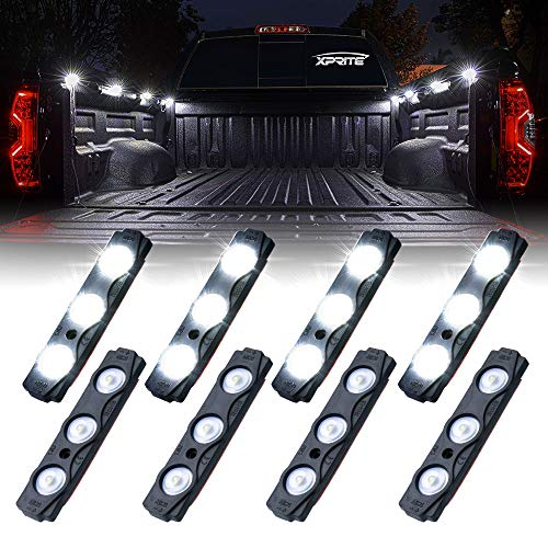 (Xprite Led Rock Light for Bed Truck, 24 LEDs Cargo Truck Pickup Bed, Off Road Under Car, Foot Wells, Rail Lights, Side Marker LED Rock Lighting Kit w/Switch White - 8 PCs)