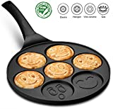 Gourmia GPA9540 Smiley Face Pancake Pan - Fun 7 Emoji Mini Pancake and Flapjack Maker - Die Cast Aluminum, Double Layer Nonstick Coating - Cool-to-Touch Handle