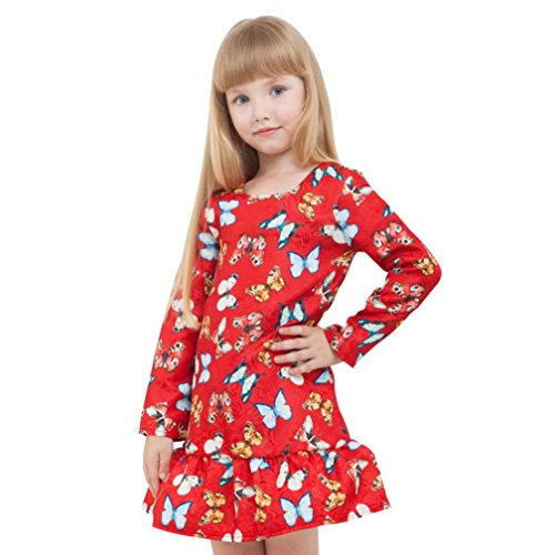 GBSELL Little Girl Kids Autumn Winter Long Sleeve Butterfly Print Dress Casual Party (Red, 4 (Four Girls Halloween Costumes)