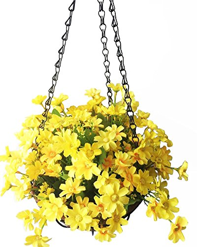 (Lopkey Artificial Daisy Flowers Outdoor Indoor Patio Lawn Garden Hanging Basket with Chain Flowerpot,Yellow 8 Inch)