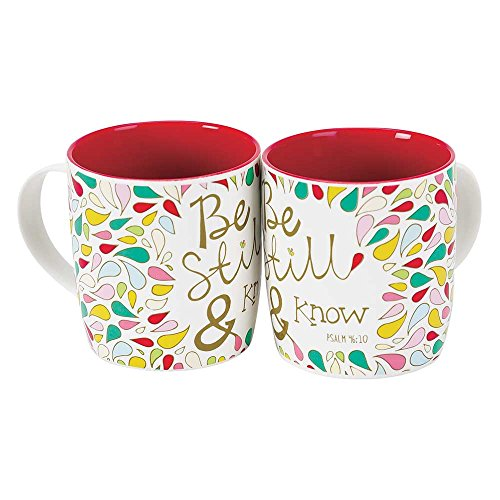 Be Still and Know Multicolored Petals 12.5 Ounce Bone China Coffee Mugs Set of 2