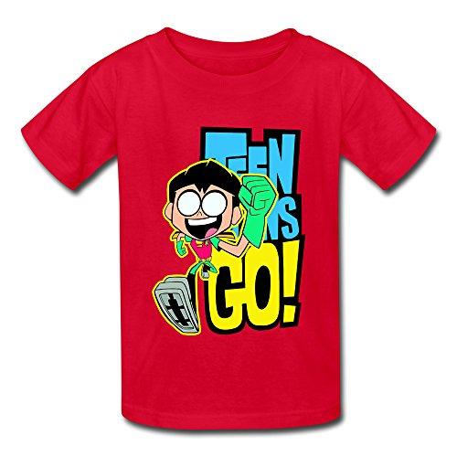 YAQI Kid's Teen Titans Go Robin T-Shirt Red M (Robin Custome)