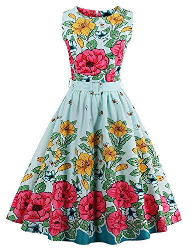 Wellwits Womens Floral 1950s Vintage