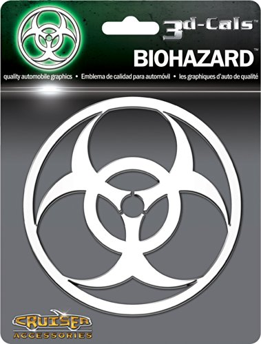 Cruiser Accessories 83203 Biohazard 3D-Cals Raised Adhesive Decal, Chrome