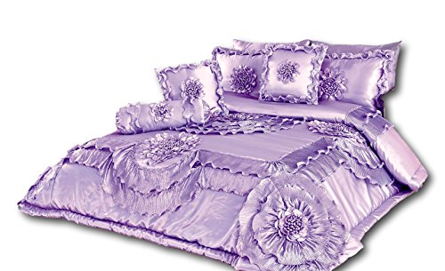 Polyester Victorian Quilt - Tache 6 Piece Solid Floral Lavender Fields Quilt Comforter Set, King Size