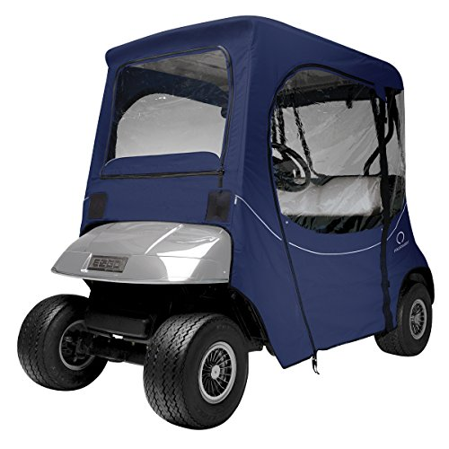 Ez Go Golf Cart Enclosures - Classic Accessories Fairway Golf Cart FadeSafe Enclosure For E-Z-Go, Short Roof, Navy