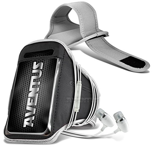 Aventus Samsung Galaxy Grand Max (Weiß) Voll einstellbare Leicht Hulle Armband für Rennen, Gehen, Radfahren, Fitnessraum und andere Sportarten wie In-Ear-Ohrhörer Aluminium Weiß