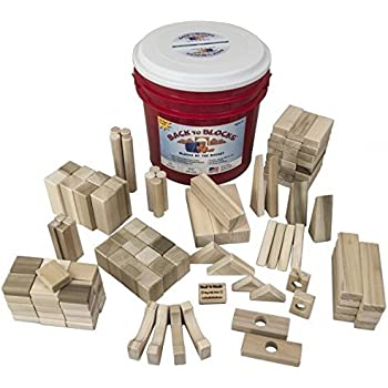 Back to Blocks Crazy Constructor Wooden Building Blocks For Kids | 120 Piece Wooden Block Set | 17 Shapes | Includes Red Storage Bucket for Easy Clean Up | 100% All Natural Wood Childrens Toy