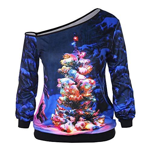 TOTOD Christmas Womens Fashion Xmas Print Novelty Sweatshirt Long Sleeve Strapless Pullover Slash Neck Costume ()