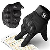 Indie Ridge Powersports Gloves, Pro-Biker Carbon Fiber Powersports Racing Gloves with Touch Screen Fingertips (Medium)