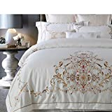 400tc simple fashion four piece set 100% cotton double bed sheet quilt cover plant floral pattern white-A King