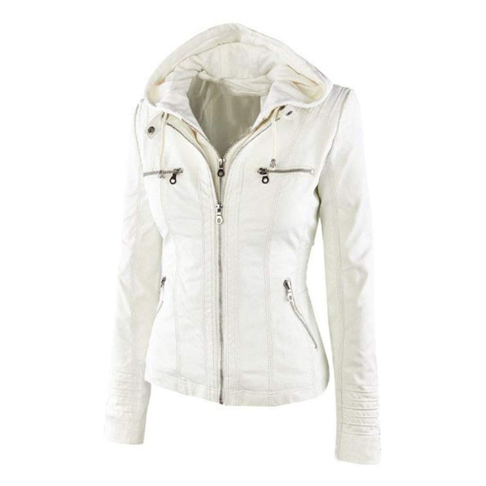 Ocamo Women PU Jacket Long Sleeve Zipper Leather Hooded Coat Fashionable Outwear Apricot M