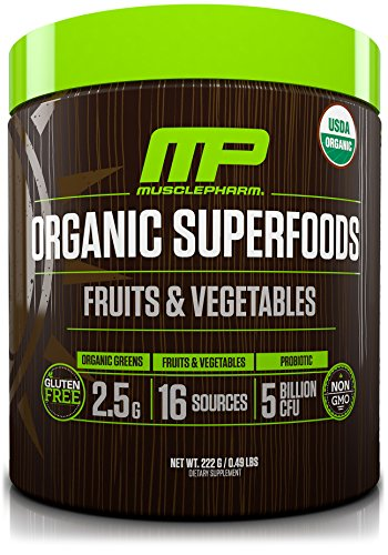 MusclePharm Organic Superfoods, Certified USDA Organic, Healthy Fruit and Vegetable Powder Drink with Probiotics, Gluten Free, All Natural, Unflavored, 30 Servings