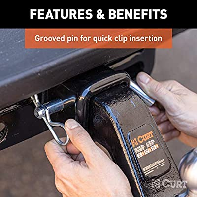 CURT 21507 Heavy-Duty Trailer Hitch Pin & Clip with Grooved Head, 5/8-Inch Pin Diameter, Fits 2-1/2-Inch or 3-Inch Receiver: Automotive