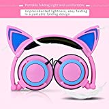 Kids Headphones Cat Ears With Glowing Ears Cartoon Headphones For Kids Foldable Ear Kids Headphone With Glowing Light For Girls Cosplay Fans Compatible With iPhone Android Phone (Pink)