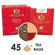India's Original Masala Chai Tea Leaves, 45 Tea Bags, SINGLE SERVE, Long Leaf Masala Chai Pyramid Tea Bags,100% Natural Indian Spices-Cardamom, Cinnamon, Clove, Black Pepper,Shipped from Source