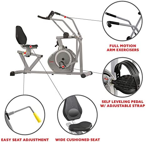 Sunny Health & Fitness Magnetic Recumbent Bike Exercise Bike, 350lb High Weight Capacity, Cross Training, Arm Exercisers, Monitor, Pulse Rate Monitoring - SF-RB4708 4